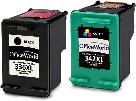 Imagen deOfficeWorld Remanufactured HP 336 342 Cartuchos de Tinta Compatible para HP Photosmart 2713 2710 2575 C3180 8150 D5160, HP Officejet 6310 6313 6315, HP Deskjet 5440 5420 5420v 5432