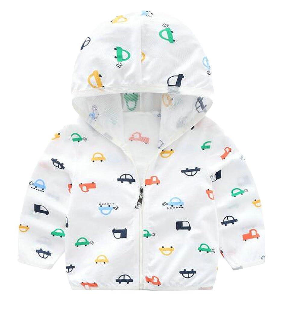 XTX Kids Boy Flower Zipper Hooded Sun Protect Thin Summer Jacket Coat