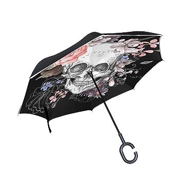 Paraguas invertido de doble capa con diseño de calaveras y flores, color negro, rosa