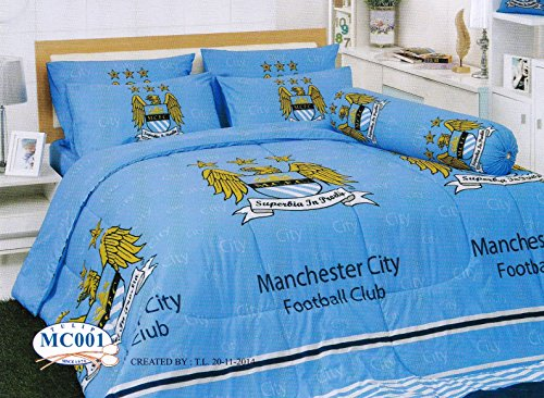 Manchester City Football Club Bedding In Bag Set (King Size, MC001); 1 Four Season Comforter with 4 pieces of Bed Fitted Sheet Set by TULIP