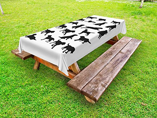 Ambesonne Labrador Outdoor Tablecloth, Black Silhouettes of Pets in Various Positions Friendly Playful Gun Dogs, Decorative Washable Picnic Table Cloth, 58 X 84 Inches, Black and White