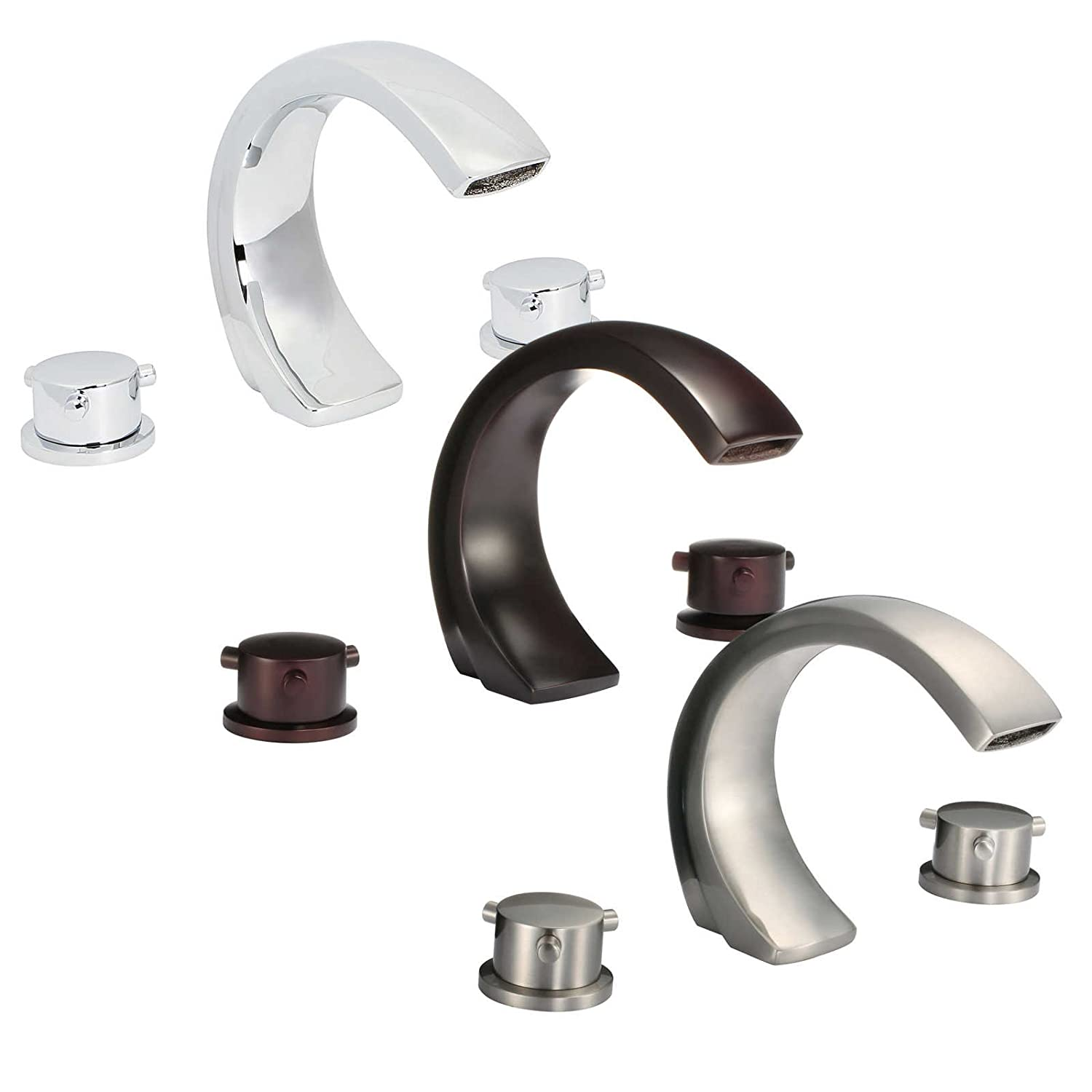 lovely FREUER Curva Collection: Modern Spread Bathroom Sink Faucet, Brushed Nickel