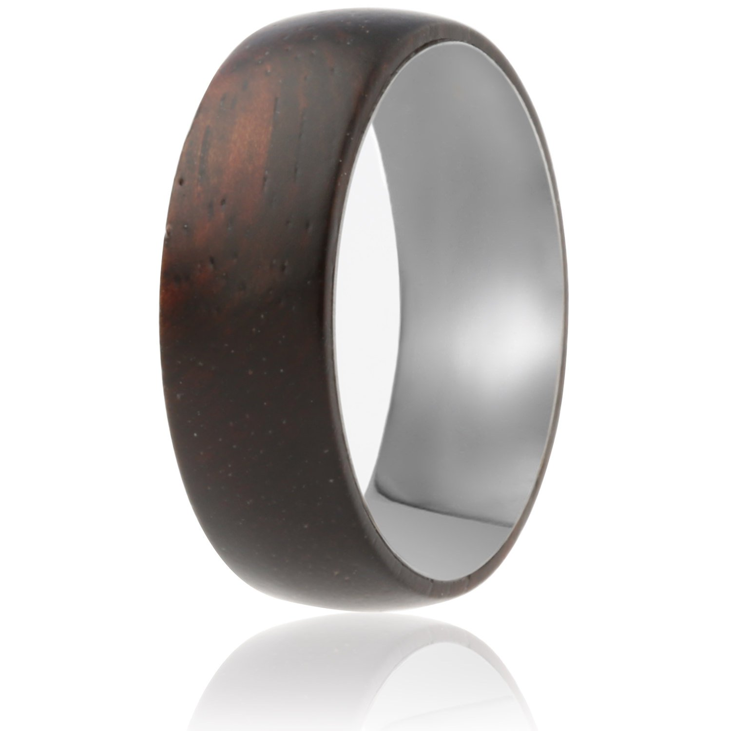 SOLEED Rings Wooden Wedding Band with Inner Tungsten Layer For Strength and Protection - Designed For Men and Women, 8mm Natural Ebony Wood Ring, Comfort Fit Design, Domed Top - Size 13