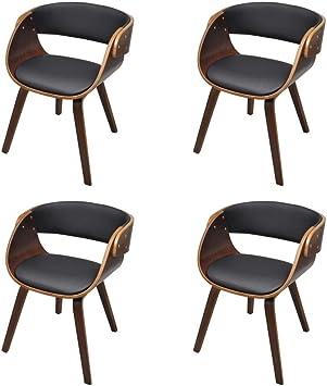 vidaXL 4X Esszimmerstuhl Holz Braun Küchenstuhl Essstuhl Stuhlgruppe Stuhl