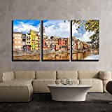 BABE MAPS 16''x24''x3 Panels Wall Decor Artwork Ready Hang Paintings Beautiful Canals of Girona Town Spain Painting on Canvas Home Decorations