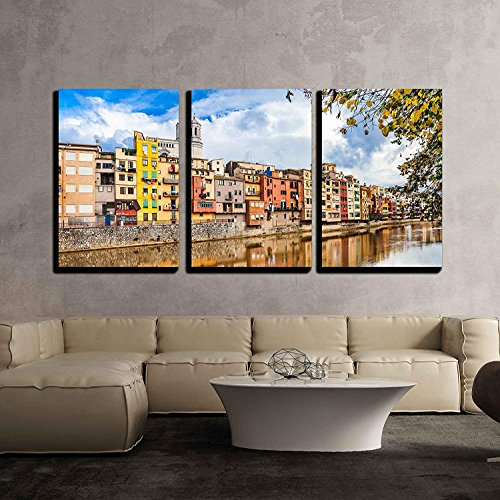 BABE MAPS 16''x24''x3 Panels Wall Decor Artwork Ready Hang Paintings Beautiful Canals of Girona Town Spain Painting on Canvas Home Decorations by BABE MAPS