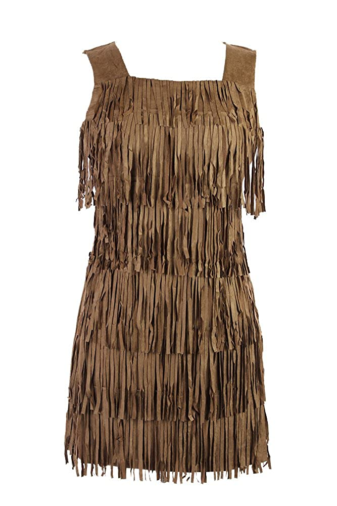 Brown Small On Trend for Less Womens Sleeveless Square Neck Western FringeFront Dress