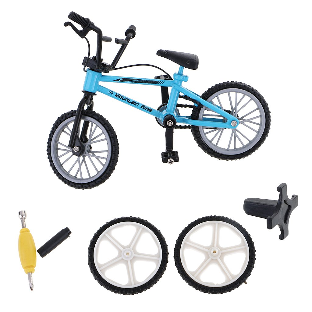 Dovewill Stylish Finger Mountain Bike Bicycle with Spare Tires Tools Boys Toy Creative Game Collection Gift Blue