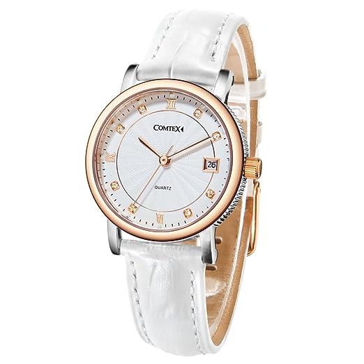 COMTEX Mujer Relojes Oro Rosa de Cuarzo Para Con Correa de Piel Color Blanco Reloj Simple Elegante: Amazon.es: Relojes