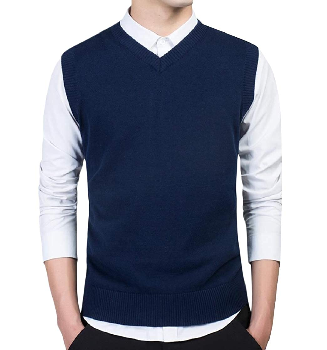 Comaba Mens V Neck Business Vest Sleeveless Pure Color Pullover Sweater