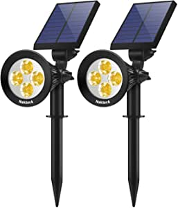 Nekteck 2 Pack Solar Lights,2-in-1 Outdoor Solar Spotlights Powered Adjustable Wall Light Landscape Lighting,Bright and Dark Sensing,Auto On/Off for Yard, Pathway, Walkway, Garden, Driveway