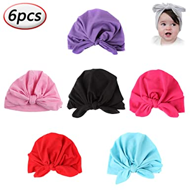 6 Pcs Baby Girls Toddler Turban Newborn Elastic Sretch Head Wrap Soft Cotton  Infant Headbands Hats dae0218a978e