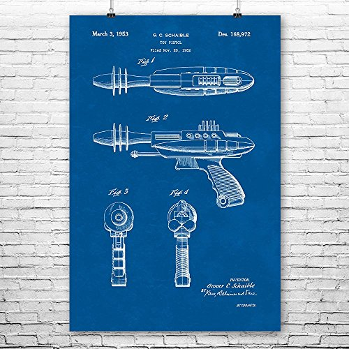 Futuristic Space Toy Ray Gun Poster Print, Retro Space Age, Sci-fi Weapon, Laser Gun, Futuristic Weapon, Science Fiction Blueprint (12