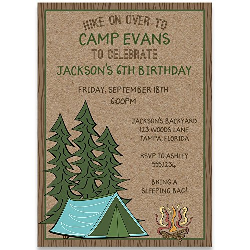 Birthday Party Invitations, Camping Birthday, Camping Birthday, Brown, Green, Blue, Orange, Red, Yellow, Trees, Tent, Fire, Camping Out, Set of 10 Custom Printed Invites with Envelopes