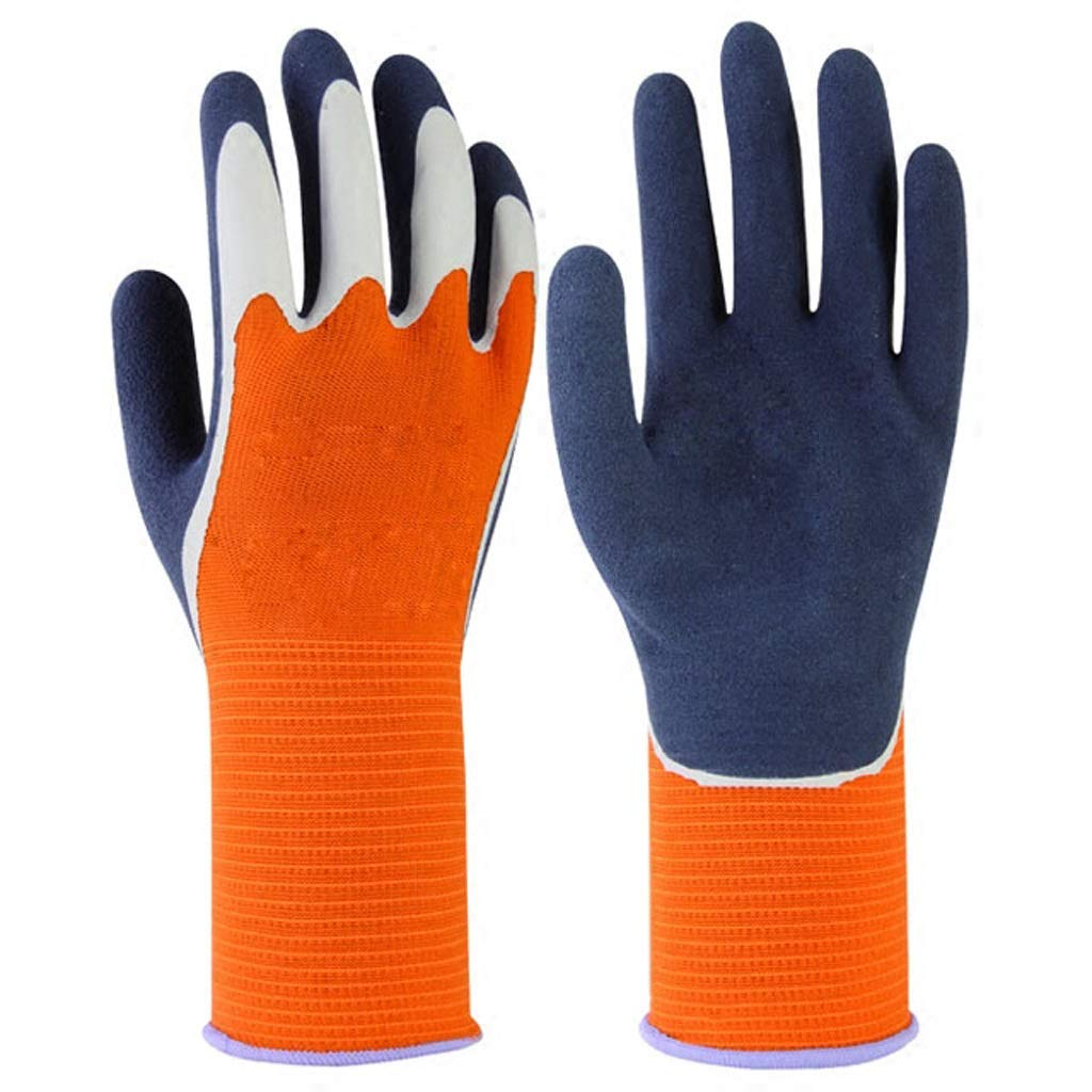 LZRZBH Work Gloves,Waterproof Resistance Work Double Layer Latex Gardening Nylon Industrial Gloves,Cut Resistant Gloves (,S,M,L, 2 Pair) (Color : A, Size : M)