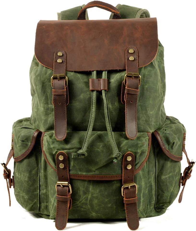 WUDON Travel Backpack for Men & Women, Genuine Leather-Waxed Canvas Shoulder Rucksack, Vintage Style W Laptop Space & Multiple Pockets, Large Bag For Travel, School, University & More (Green)