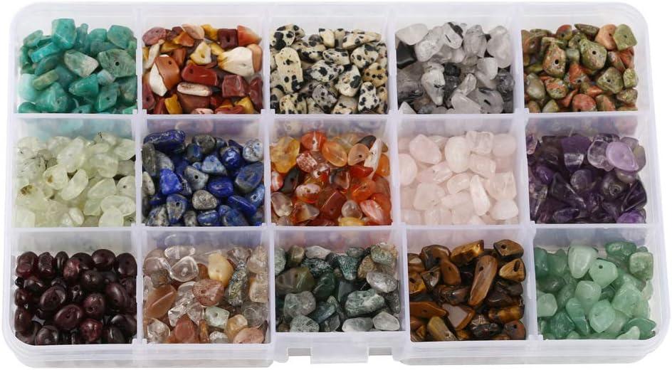 Cuentas de cristal de cuarzo con forma irregular, 15 diferentes tipos de piedras preciosas para hacer pulseras y collares