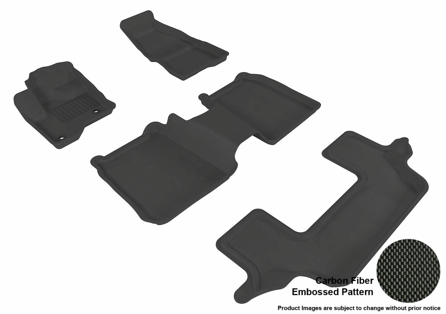 Tan 3D MAXpider Front Row Custom Fit All-Weather Floor Mat for Select Ford Flex Models Kagu Rubber L1FR02111502