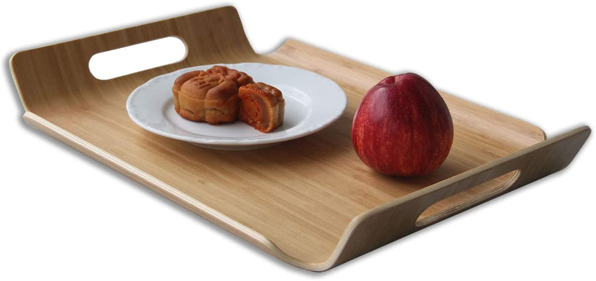 MXHAPPY Food Serving Tray with Hand Rectangle Butler Tray Bamboo Bent Wood Platter Dishes Tea Breakfast Tray Coffee Tray Hotel Tray 15.7 X 11 Inch
