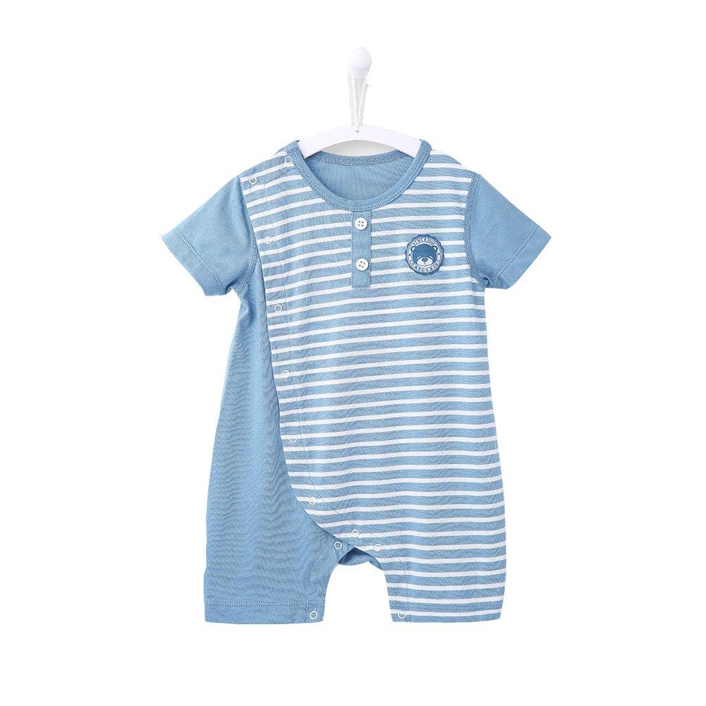 COBROO Newborn Baby Boy Romper Bodysuit Striped Pattern Cotton Summer Button Design Unisex Baby Clothes Onesies (6-9 Month)