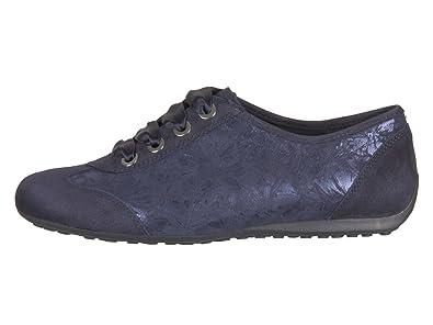 Nele N6106-987-080 Damen Schnürschuh Sportiv Weite G Samtchevrau Flowerprint Blau (Midnightblue), 41 EU/7 UK Semler