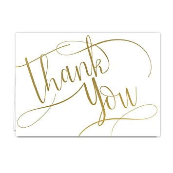 Gold Foil Thank You Note Card Pack  Set Of  Cards Blank Inside