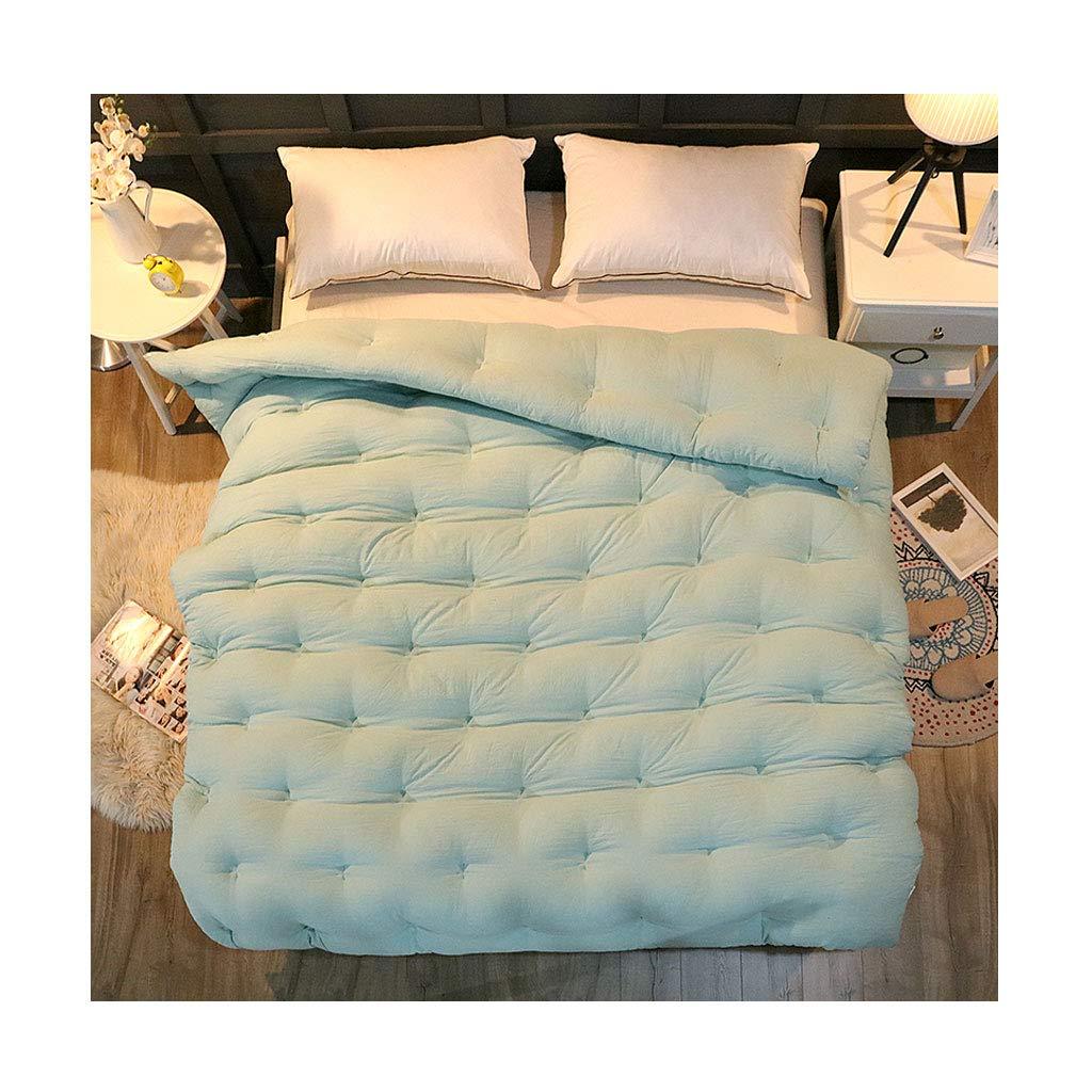 シンプルなソリッドカラー秋と冬のソフト個々のダブル暖かい厚手のキルトコア寝室ホステルベッドライニングを保つ (色 : 青, サイズ さいず : 150×200cm) B07MLH7NL7 青 150×200cm