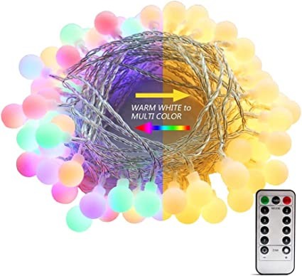 Amazon Com Amars Color Changing Indoor String Lights 26ft 70 Led 8 Function Warm White Multi Color Globe String Lights Dimmable Battery Operated Fairy Light With Timer Remote For Christmas Tree Party Bedroom