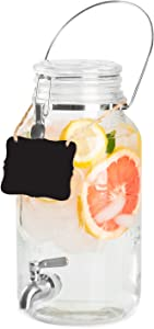 Outdoor Glass Beverage Dispenser with Stainless Steel Spigot, Handle & Hanging Chalkboard - Drink Dispenser for Lemonade, Tea, Cold Water & More