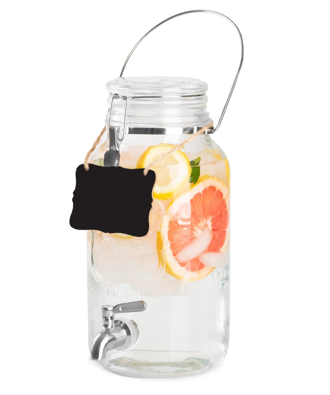 Outdoor Glass Beverage Dispenser with Stainless Steel Spigot, Handle & Hanging Chalkboard - Drink Dispenser for Lemonade, Tea, Cold Water & More
