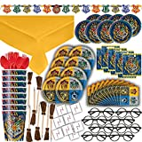 Harry Potter Themed Party Supplies, Decorations & Favors - 8 Guest - Small & Large Plates, Cups, Napkins, Tablecover, Cutlery, Loot Bags, Tattoos, Glasses, Pen Brooms, Birthday Banner