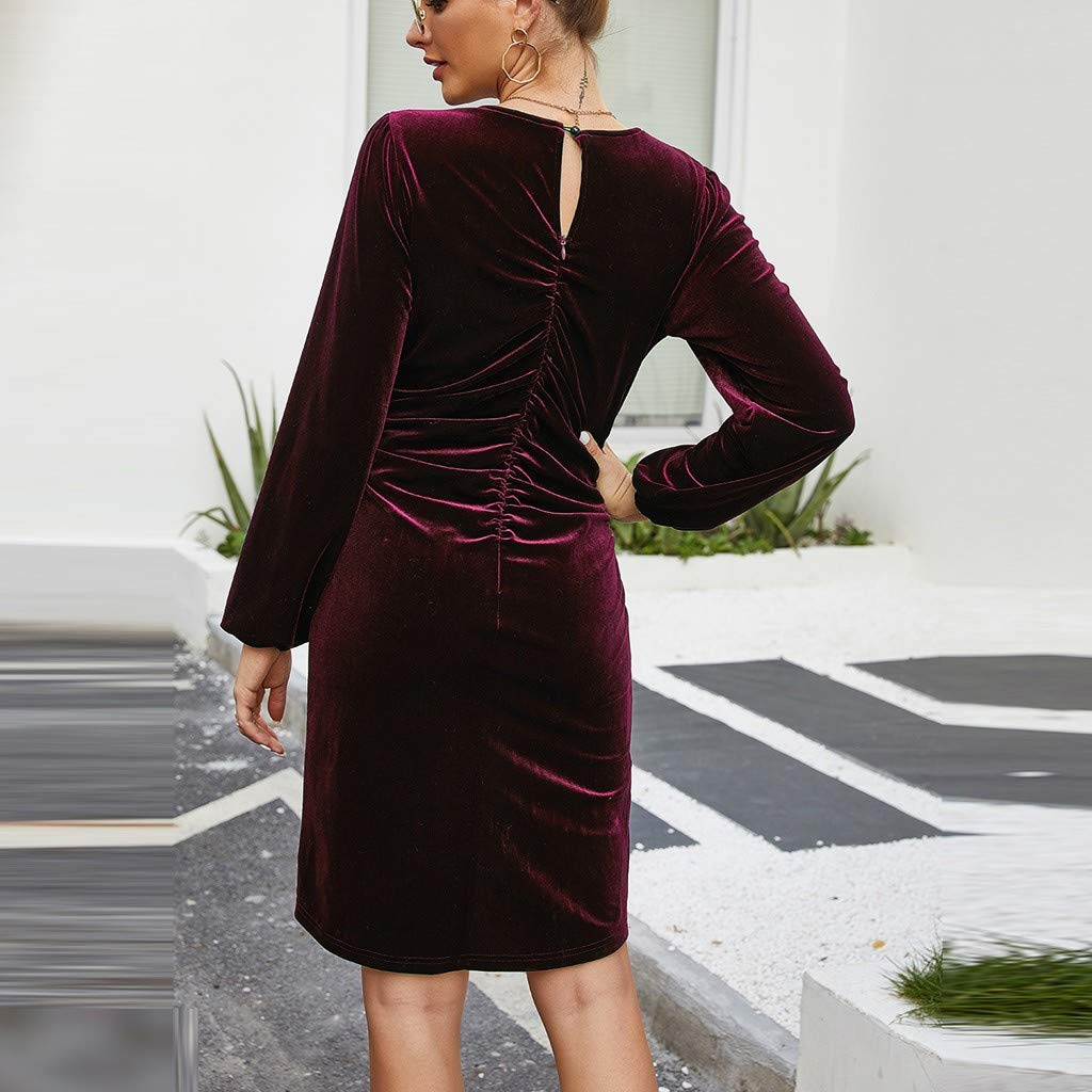 ZOMUSAR Ladies Dress Women Fashion Solid Color Print Pleated Loose Long Sleeve Long Velvet Dress