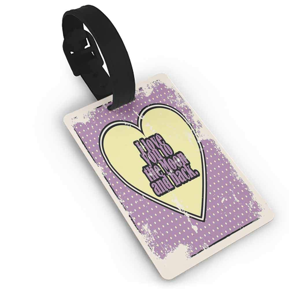 Small luggage tag,I Love You,Seductive Female Lips Ajar Desire Red Hot Lipstick Retro Valentines Style,Holders Zip Seal /& Steel Loops Thick Red White Black