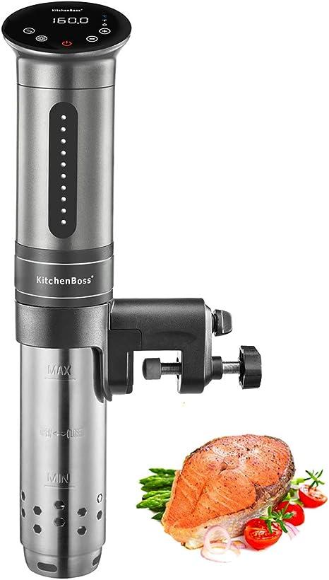 KitchenBoss Sous Vide Aparato de Cocina Precisión 1100W Inmersión a Prueba de Agua IPX7 Circuladores Control de Temperatura de Precisión Temporizador Digital Incluido 10 Bolsas Envasado al Vacío: Amazon.es