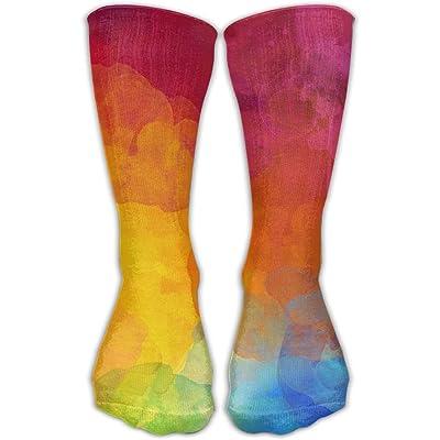 YUANSHAN Socks Rainbow Print Women & Men Socks Soccer Sock Sport Tube Stockings Length 11.8Inch
