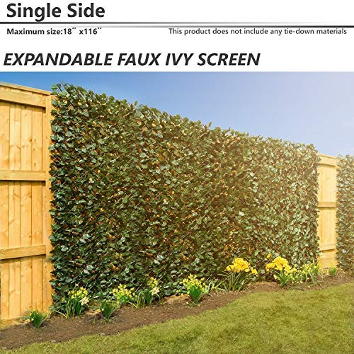 - BOUYA 15 x 116 Expandable Faux Artificial Ivy Trellis Fence Privacy Wal Screen (Single Sided Leaves) Outdoor/Indoor Backdrop Garden Backyard Home Decorations, Singe Eaves, Green