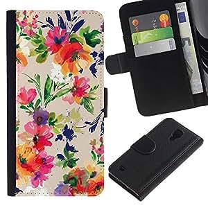 LASTONE PHONE CASE / Lujo Billetera de Cuero Caso del tirón Titular de la tarjeta Flip Carcasa Funda para Samsung Galaxy S4 IV I9500 / Vibrant Colors Fabric