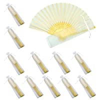 Mcuppe Hand Folding Fans Handheld Silk Bamboo Fans with Gift Bags Wedding Party Favours Home Office DIY Decoration Bridal Dancing Props