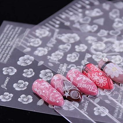 ... Blancas De Encaje 3D Pegatinas De Uñas Calcomanías Autoadhesivas DIY Charm Design Manicure Nail Art Decoraciones: Amazon.es: Deportes y aire libre