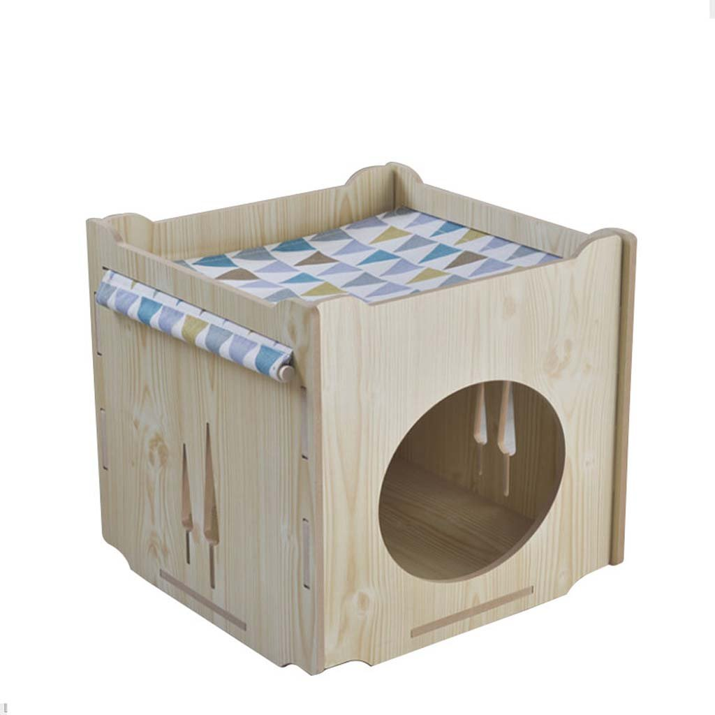 A Kitten wooden hammock Pet house. Four seasons universal cute shape detachable cleaning Suitable for kittens and other small pets