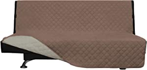 Easy-Going Futon Sofa Slipcover Reversible Sofa Cover Armless Futon Cover Furniture Protector Couch Cover Water Resistant PetsKidsChildrenDogCat(Futon,Brown/Beige)