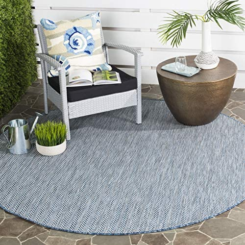 Safavieh Courtyard Collection CY8022-36821 Indoor Outdoor Area Rug, 7 10 Round, Navy Grey