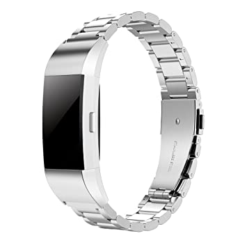 Simpeak Band for Fitbit Charge 2, Stainless Steel Replacement Band Strap  for Fit bit Charge2 Fitness Watch, Silver