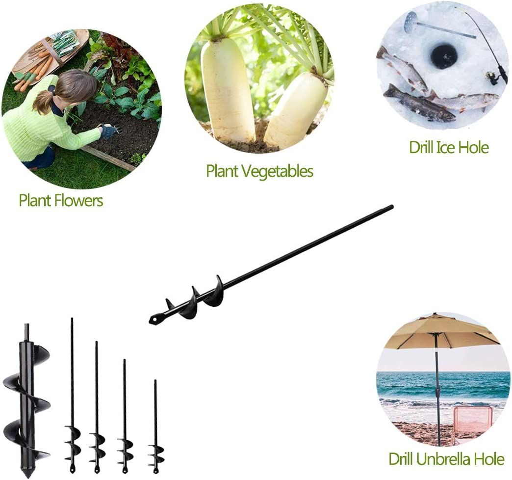 """Zantle Garden Auger Drill Bit Garden Auger Spiral Drill Bit 1.6"""" x 9"""" Rapid Planter for 3/8"""",Hex Drive Drill - for Tulips, Iris, Bedding Plants and Digging Weeds Roots (1.6"""" x 9""""Black)"""