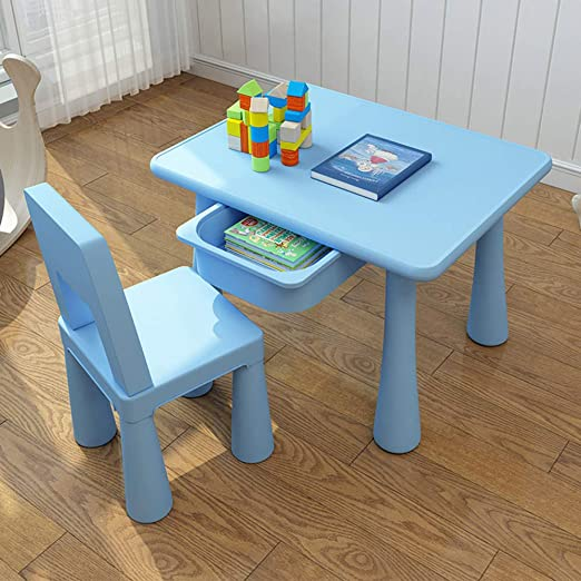 GYiYi Mesa Escritorio Infantil Niño, con Cajones Y 2 Sillas, Mesa ...