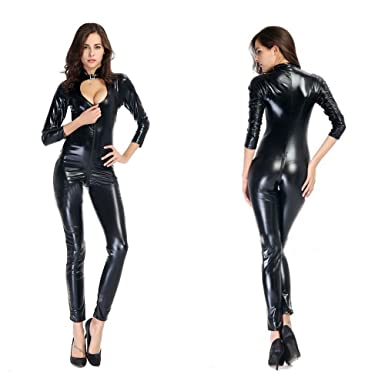 1cc0decf18 Womens Sexy Black Wet Look Bodysuit Open Crotch Jumpsuit Faux Leather  Catsuit Zipper Clubwear(Neck Button)  Amazon.co.uk  Clothing