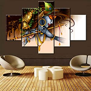 Indian Pictures Lord Krishna Wall Decor Religious Artwork for Walls Hinduism Deity 5 Pcs/Multi Panel Canvas Home Decorations for Living Room Wooden Framed Ready to Hang Posters and Prints(60''Wx40''H)