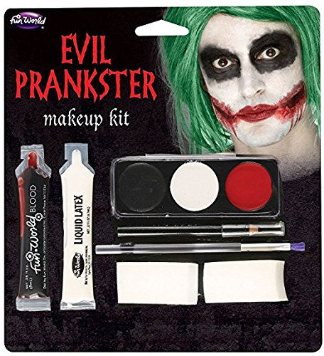 Evil Latex (Fun World  Halloween Evil Prankster/joker Make Up Kit Accessory, -Multi, standard)