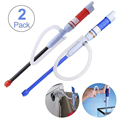 TeeBetter Battery Operated Liquid Transfer Pump Automatic Siphon Pump Portable Pipe Pumping with Bendable Suction Tube Multi-Use Hand Fuel Pump for Fuel Gas Oil Gasoline Water (Blue+Red) : Garden & Outdoor