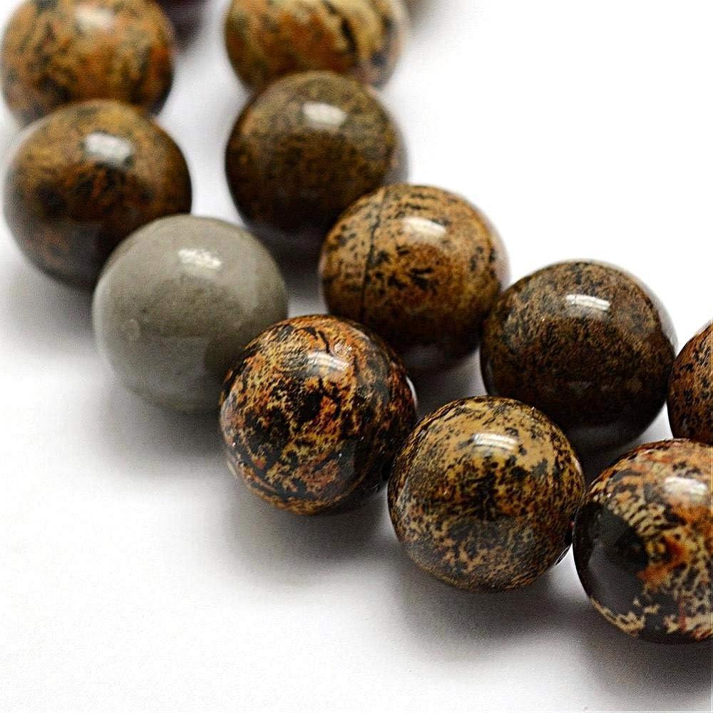 Perlin G323 - Perlas de Piedras Preciosas Naturales, Jaspe dendrico, ópalo Redondo, 8 mm, 30 Unidades, Color marrón y Negro